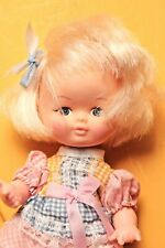 Blonde Girl Doll Blonde Hair Blue Ribbon White Boots Multicolored Dress 8""