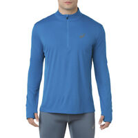Asics Mens Silver Long Sleeve 1/2 Zip Top Blue Sports Running Half Breathable