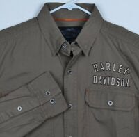 Harley Davidson HD Brown Embroidered Garage Mechanic Biker Shirt Mens Size 5XLT