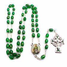 NEW MADE IN ITALY GREEN GLASS SAINT PATRICK IRISH ROSARY ENAMELED CELTIC CROSS