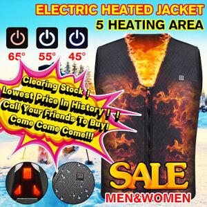 Men Women Electric USB Battery Heating Sleeveless Vest Heated Jacket Skiing 🇦🇺