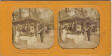 Fête marché à Saint-Cloud Paris France Stereo Diorama Vintage Albumine ca 1875