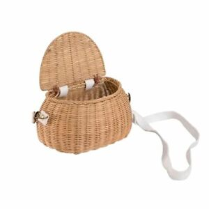 Rattan Bicycle Storage Basket Children Cute Picnic Wicker Straw BackPack Multi