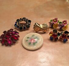 Antique Vintage Jewelry Lot Brooches Earrings Scarf Clip Rhinestones Floral