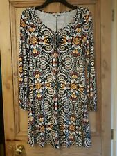 Papaya Weekend A-Line Dress Black Yellow Red Flower Print Draw-Up Neck Size 12