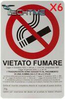 6X CARTELLO 20X30 CM PVC TARGA SEGNALE VIETATO FUMARE LEGGE ARTICOLO