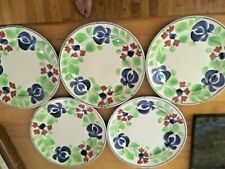 "SET of 5 Antique Allertons Persian Ware 7.75"" Plates Hand Painted Floral NICE!"