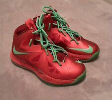 Nike Lebron Christmas 2012 X-mas Red Green Boys Size 3.5 Youth Basketball Shoes