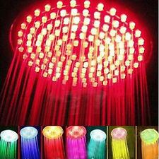 "Bathroom RGB LED Flash Light 7Colors Changing 20cm/8"" Rain Shower Bath Head"