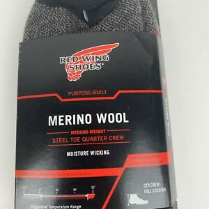 Red Wing Shoes safety toe quarter crew socks made in USA 9-12 Merino Wool