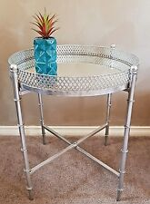 New Round Side Table Silver Metal Frame Mirrored Top