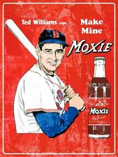 TED WILLIAMS MAKE MINE MOXIE COLA HEAVY DUTY USA MADE METAL MLB ADVERTISING SIGN