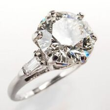 Solid White Gold Engagement Ring Certified 3.10Ct Round White Moissanite 14K