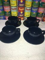 4 Cups & Saucers of Sasaki Vignelli Colorstone in hard-to-find navy blue