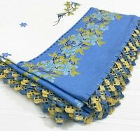 Floral Cotton Square Tablecloth Blue Yellow Crochet Edging Portugal Europe 46x47