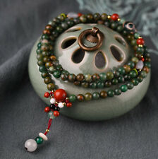 6mm African Jade Beads with Red Stone and White Marble Beads Bracelet / Necklace