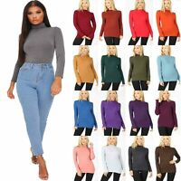 Womens Polo Neck Top Long Sleeve Roll High Turtle Neck Jumper Vest T Shirt 8-26