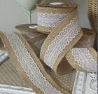 50mm Woven Edge Hessian / Burlap & White or Ivory Lace Ribbon. Rustic, vintage.