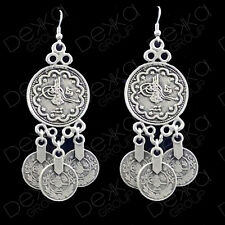 Silver Coin Disc Dangle Earrings Ottoman Turkish Ethnic Tribal Gypsy Boho Coins