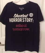 Wound Up Halloween T Shirt SHORTEST HORROR STORY:SCHOOL TOMORROW Jr Sz XL NWT