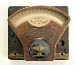 Antique Weston Electrical Instrument Co. Direct Current Ammeter Voltmeter 1898