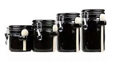 Anchor Hocking 4 Piece Black Ceramic  Canister Set of 4