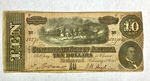 1864 T-68 $10 The Confederate States of America Note No. 58348 - CIVIL WAR Era
