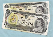 TWO 1973 CANADA Canadian ONE 1 DOLLAR BILL prefix BCY NOTES CRISP UNC