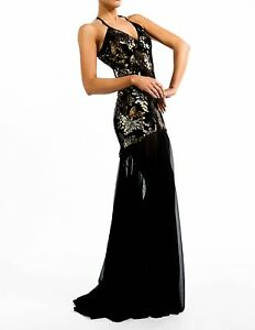 BNWT Kevan Jon Sequin Maxi Embellished Cross Back Evening Ball Dress Size 3 = 12