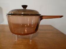 Vintage Visions Ware Corning Amber Cook Ware Glass Pot Sauce Pan & Lid 1.5L Vgc
