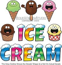 "Ice Cream Lettering Decal 14"" Food Truck Concession Trailer Cart Vinyl Sticker"