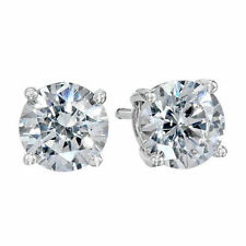 Pretty New 9k White Gold Filled 8mm 4 Prong Clear Round CZ Stud Post Earrings