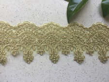 1Yards Embroidered Lace Trim DIY Sewing Crafts Vintage Decor 8.5cm Width Gold