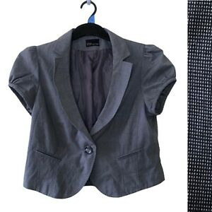 Evie Women Blazer Jacket UK 8 10 Grey Short Cap Sleeve Collar Button Formal Work
