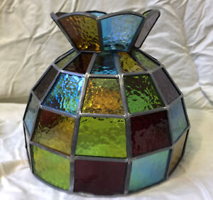 Vintage Stained Glass Lamp Shade MultiColor Red Blue Green Amber Leaded