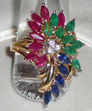 Precious emerald, ruby, sapphire and diamond 14K gold cocktail ring