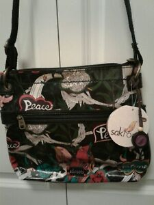 """Sakroots Crossbody Bag Purse """"Black Peace"""" New With Tags"""