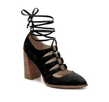 SEYCHELLES Center Ghillie Lace Up Pumps WOMENS SZ 6 Black Suede Ankle Wrap EEUC