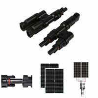 1 Pair 2 to 1 Y Branch Connectors Solar Panel Parallel Adapter Cable MMF FFM