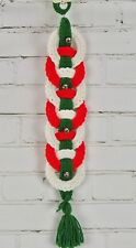 VINTAGE Yarn Crochet Knit Wall Hanging Bell Pull Banner CHRISTMAS Completed 21""