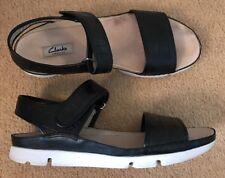 Ladies Clarks Narrative Black Leather Animal Print Sandals UK Size 7 D Width