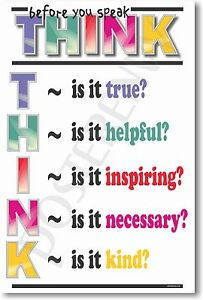Think Before You Speak - NEW School Classroom Student Motivational POSTER