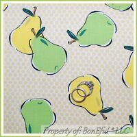 BonEful Fabric FQ Cotton Quilt VTG Antique Feed*sack Green Yellow Fruit Pear Dot