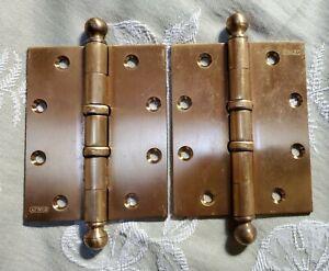 "2 Vintage Heavy Duty Stanley Brass Door Hinges Knuckled 5"" x 4"" BB193 USA"