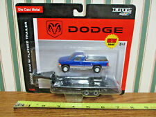 Blue & Silver Dodge Ram With Flatbed Gooseneck Trailer by Ertl 1/64th Scale !