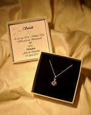 Will you be my bridesmaid?  sterling silver pendant CZ personalized box Gift