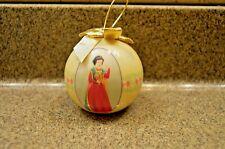 DISNEY SNOW WHITE Christmas yellow ball decoupage ornament  2005 gold bow