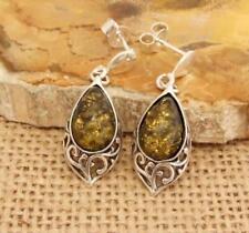 Orecchini di lusso verde pendente ambra