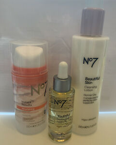 No 7 Youthful Replenishing Facial Oil & Cleansing Lotion & Hydration Mask, New