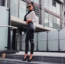 ❤️'HARIDAN' BLACK PATENT STRETCH VINYL TROUSERS PANTS M, L